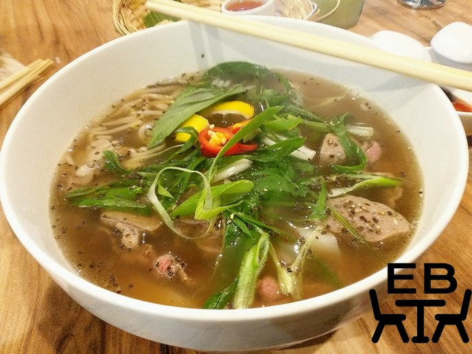 The steaming bowl of fragrant beef pho.