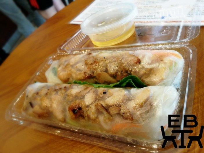 Transluscent-skinned spicy lemongrass chicken vermicelli rolls.