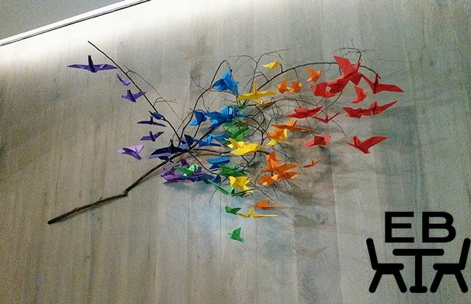 A tree of folded paper cranes as you walk in.