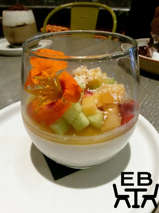 Coconut panna cotta with seasonal fruits.