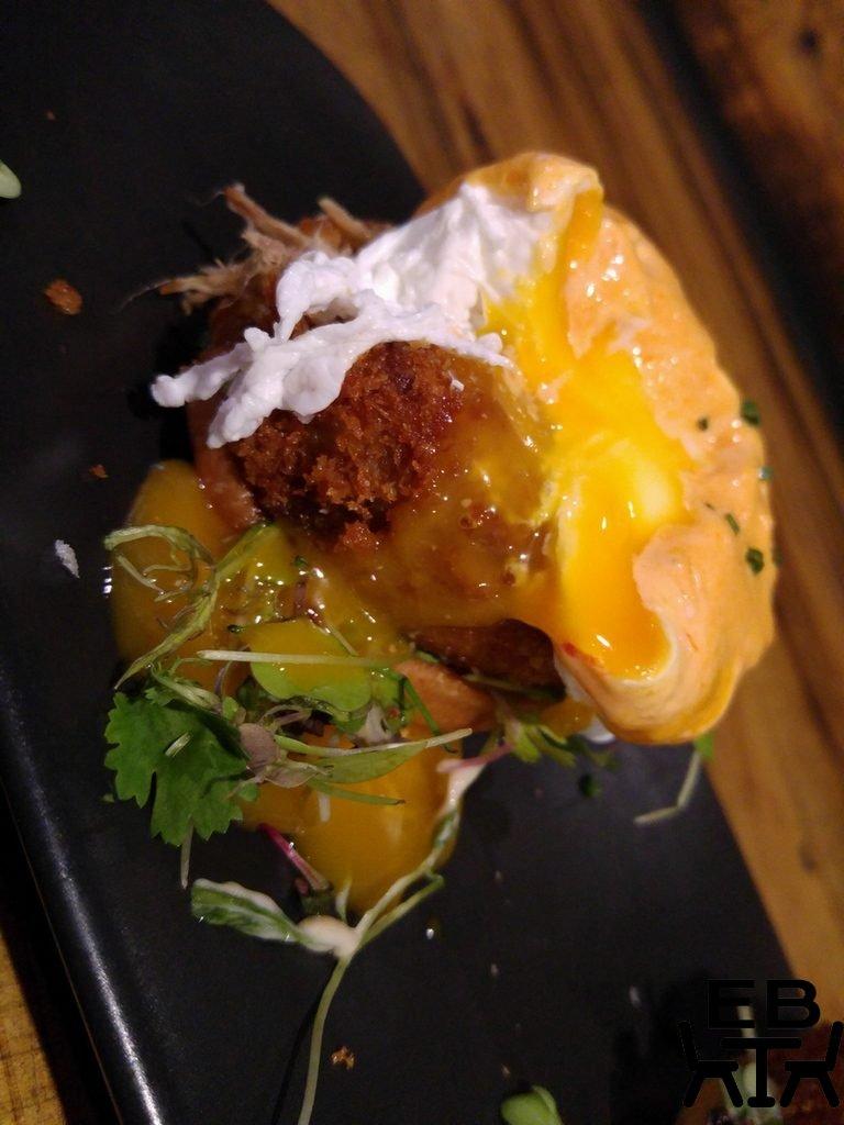 Hask pork fritter benedict egg