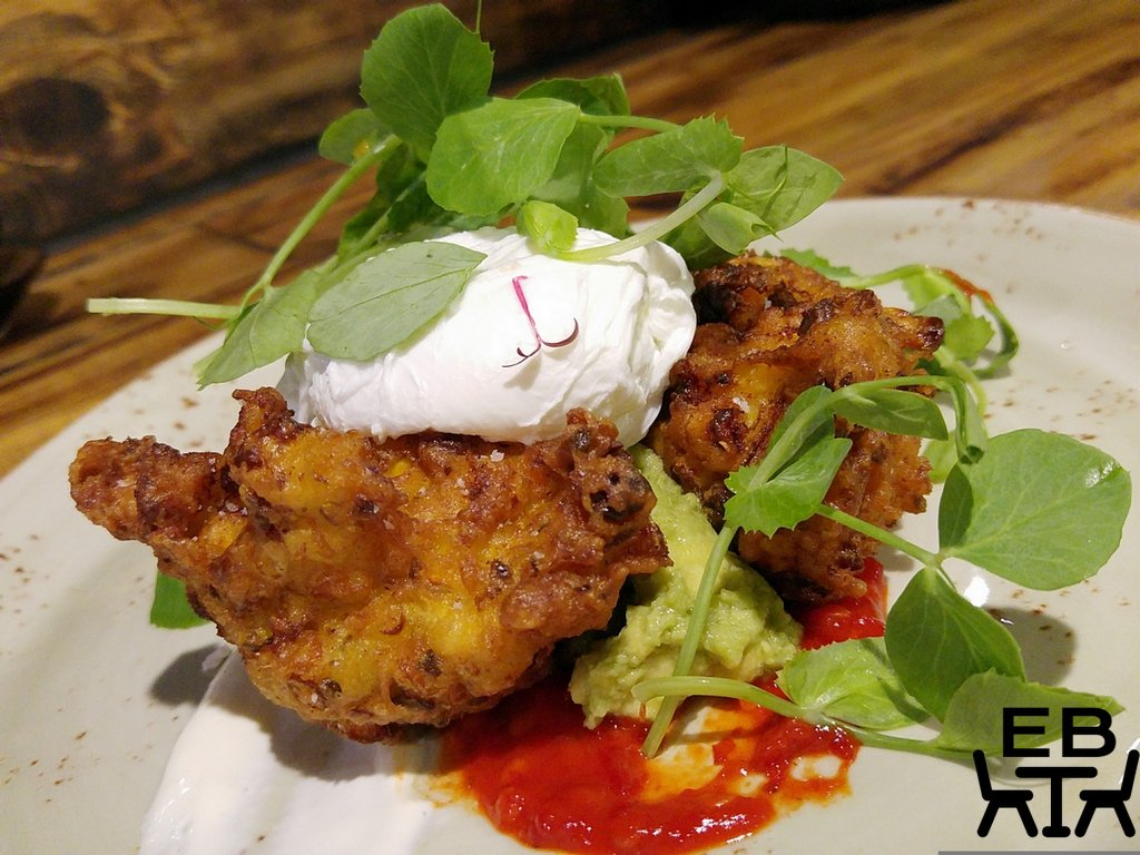 Hash corn and prawn fritters