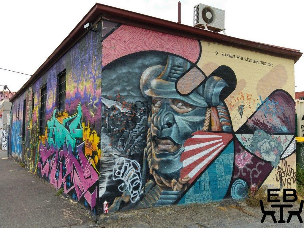 Graffiti across the road