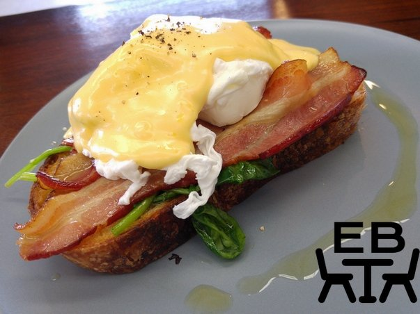 The eggs benedict with bacon.