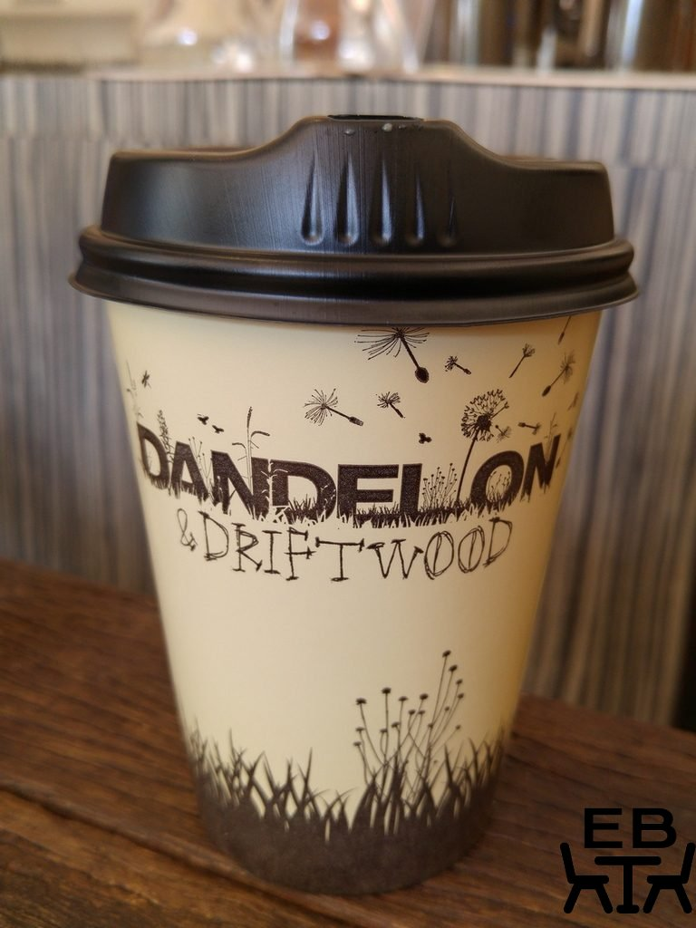 Dandelion and driftwood cup