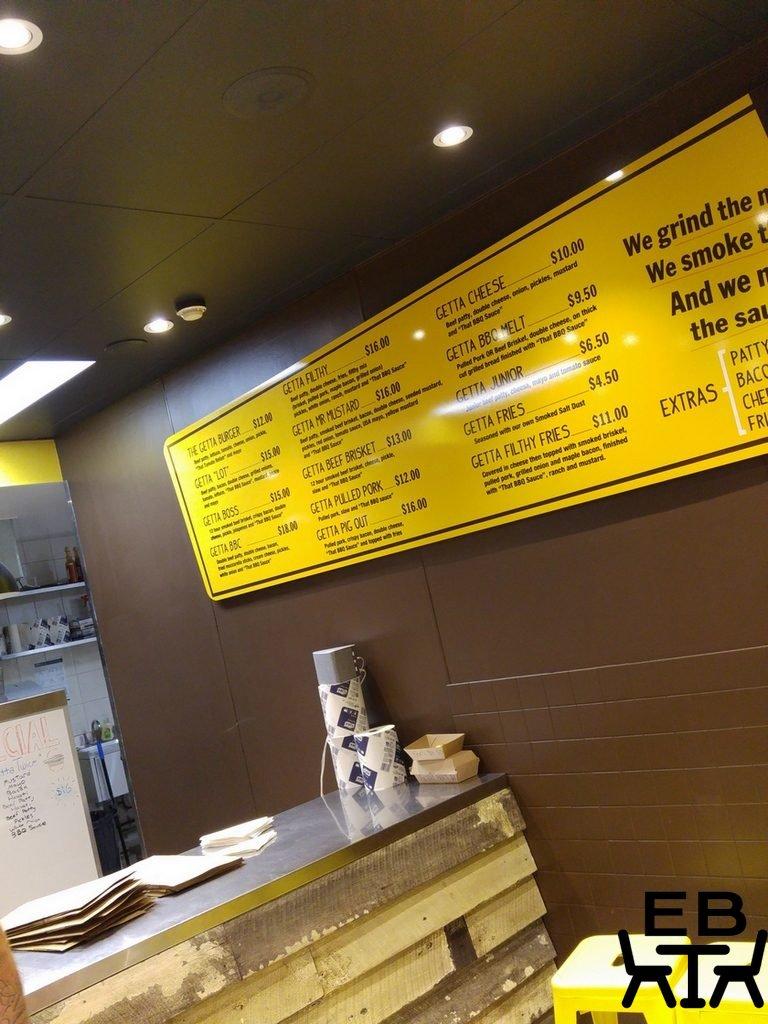 Getta Burger menu