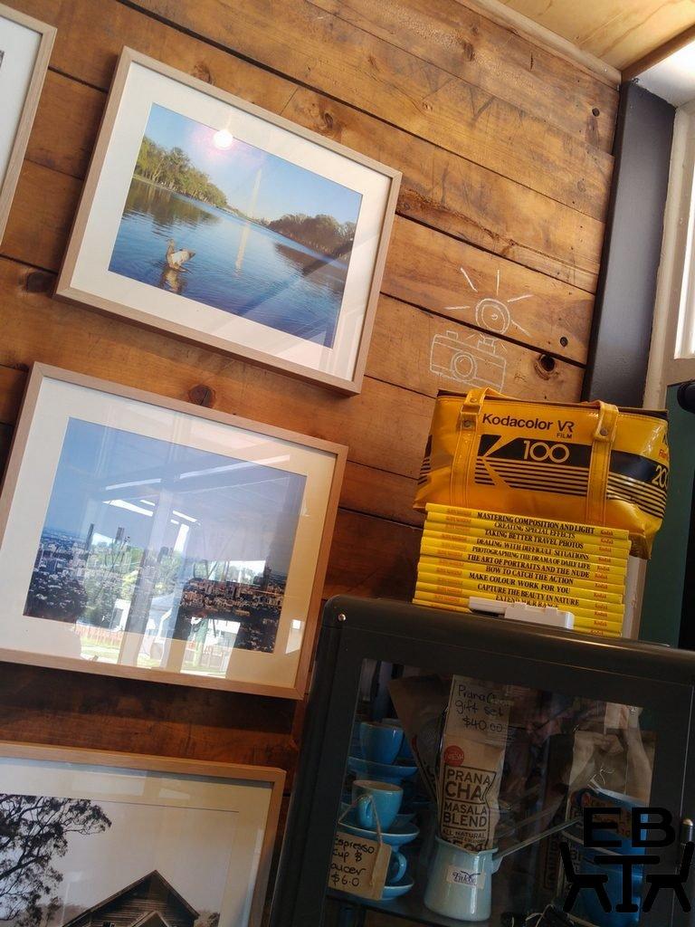 Shutter and brew shelf