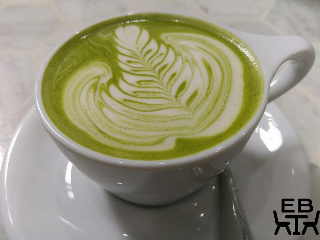 White mojo matcha latte