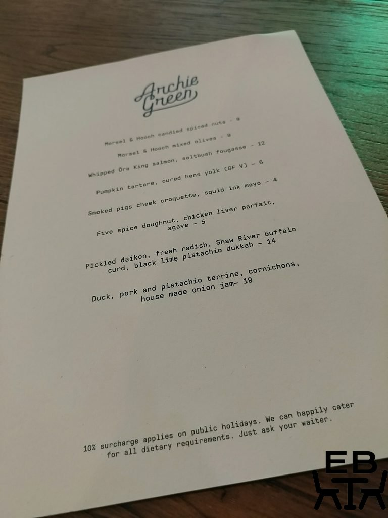 archie green menu