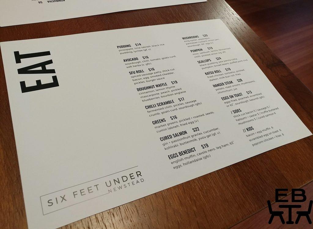 six feet under menu