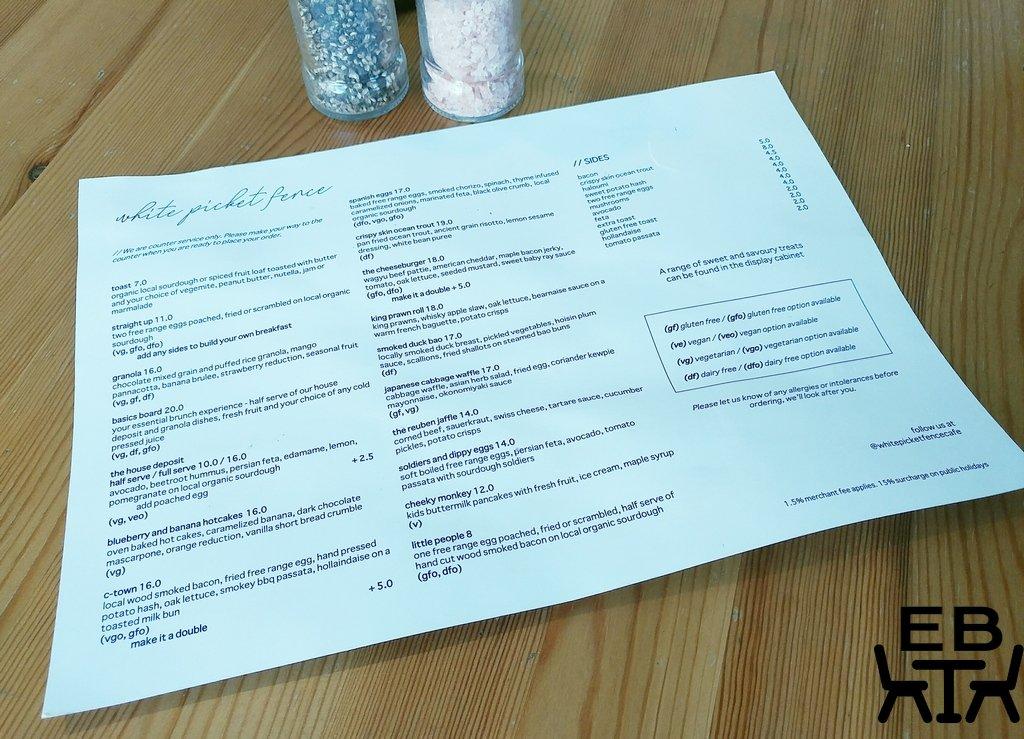 white picket fence cafe menu
