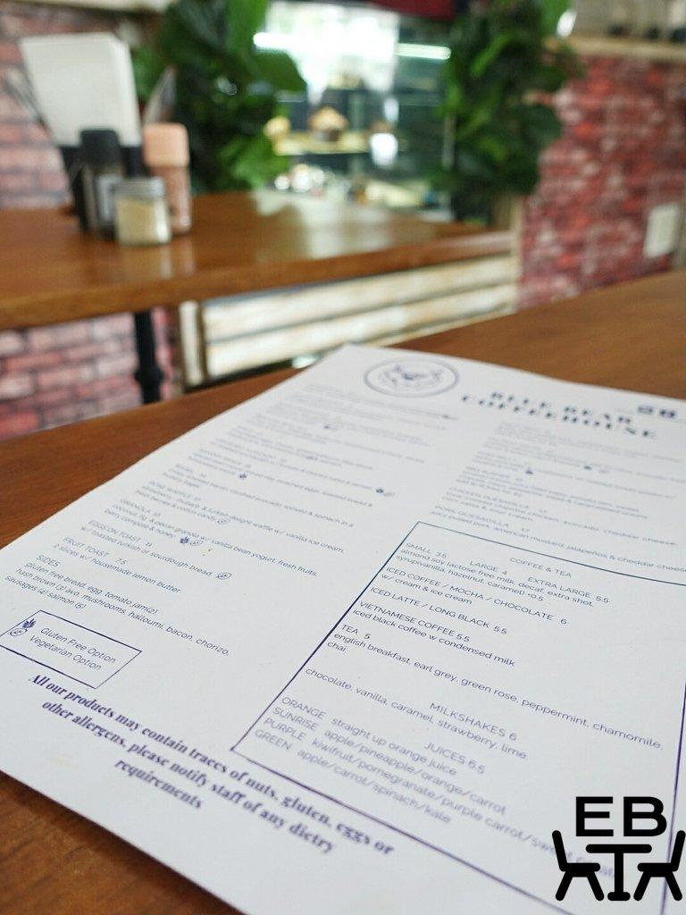 blue bear coffeehouse menu
