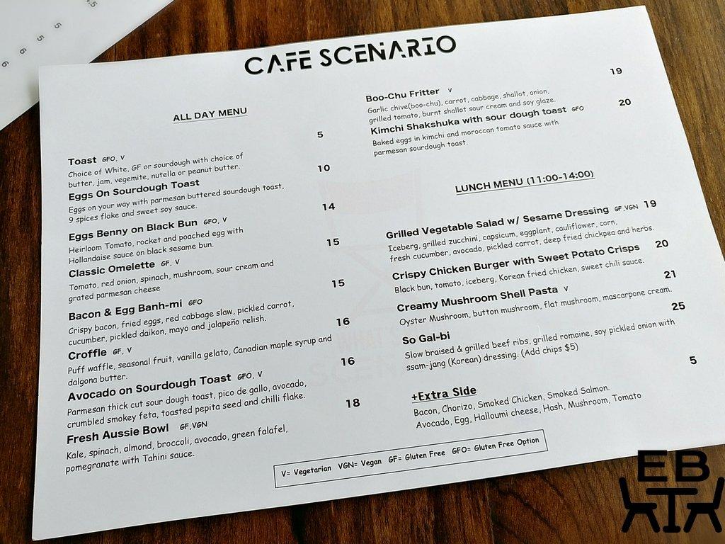 cafe scenario menu