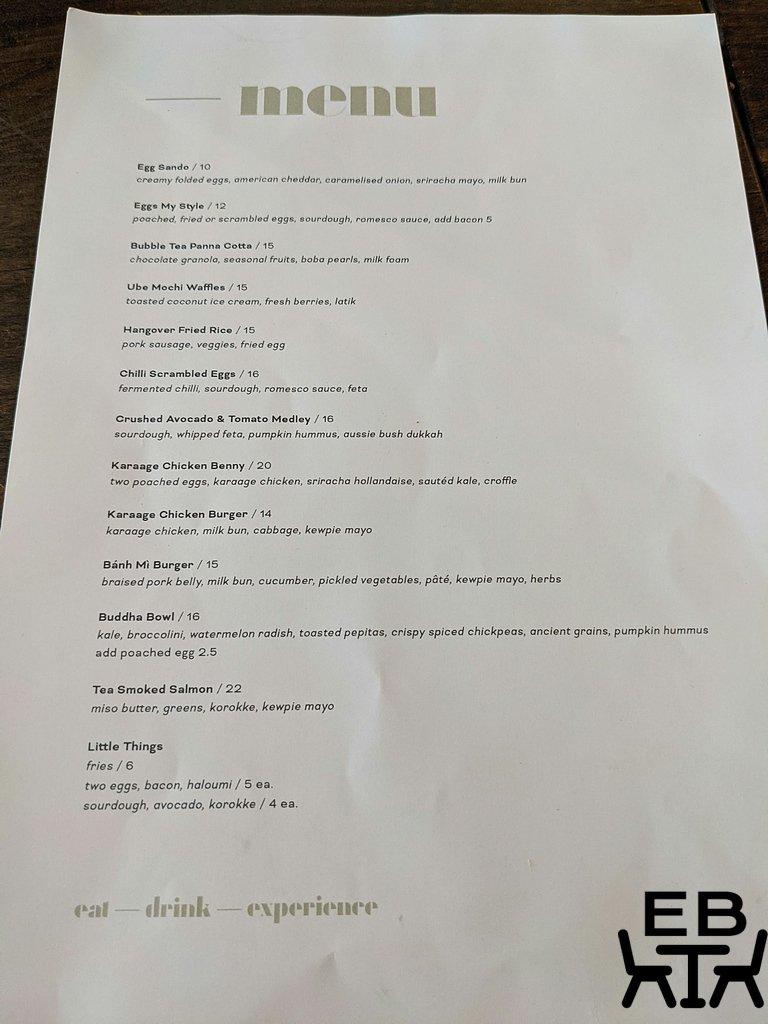 given bar and kitchen paddington menu