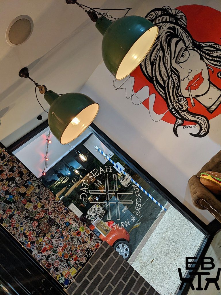 hashtag burgers and waffles mural