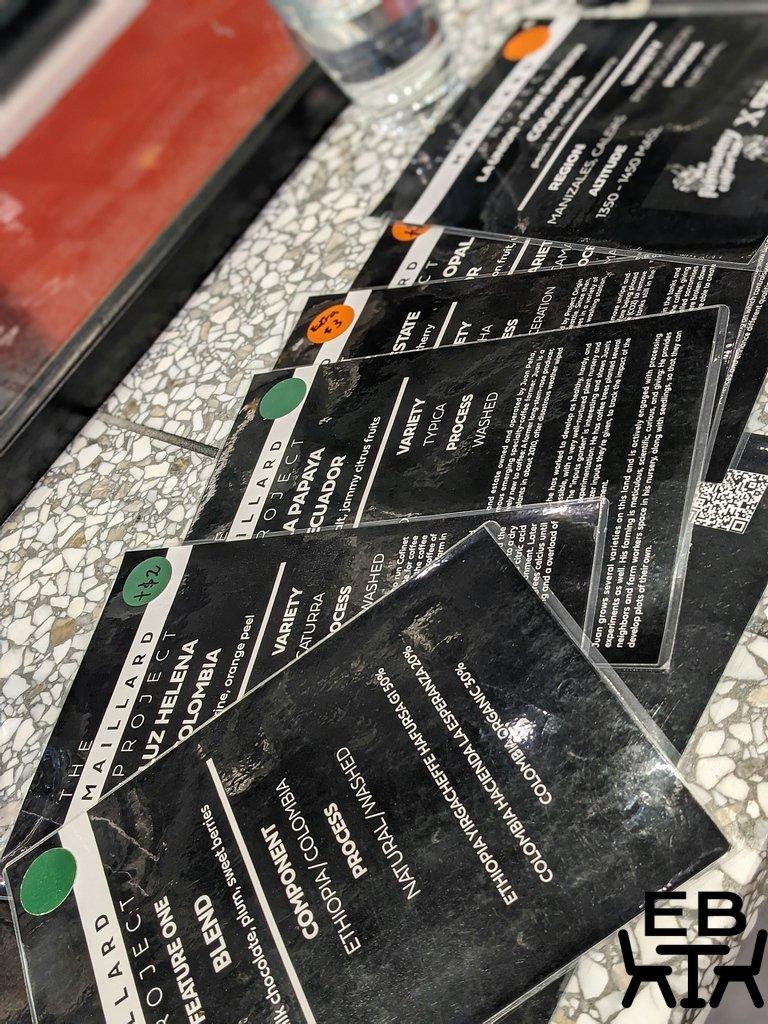 maillard project coffee menu