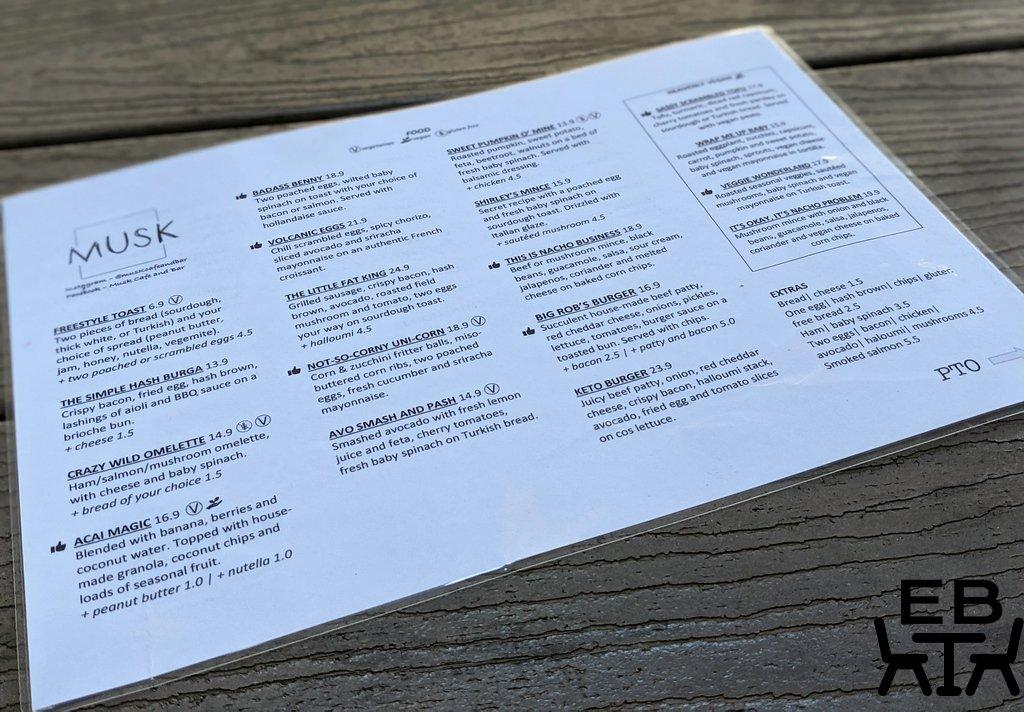musk cafe and bar menu